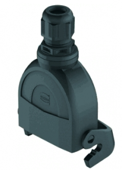 Han-Eco A 10A cable to cable housing, integr. cable gland, top entry, 1xM20