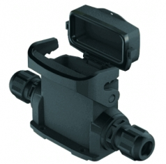 Han-Eco A 16A surface mounted housing, with thermo-plastic cover, integr. cable gland, side entry, 2xM25, outdoor