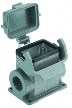 Han 6B surface mounted housing, with metal cover, side entry, 2xM25, high construction