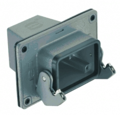 Han 10B panel feed through housing, top entry, 1xM25, single locking lever, high construction