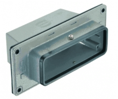 Han 24B panel feed through housing, top entry, 1xM32, central locking lever (on the hood), high construction