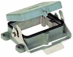 Han 48B bulkhead mounted housing, with metal cover, o-ring seal, single locking lever