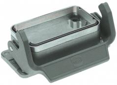 Han EMC 10B bulkhead mounted housing, single locking lever, internal seal