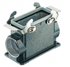Han M 16B surface mounted housing, side entry, 2xM40, double locking lever, high construction