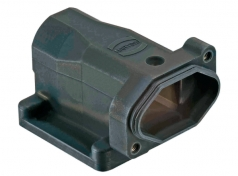Han 3 HPR bulkhead mounted housing, angled, open bottom, feed through hole for fixing screws, long version, chromated
