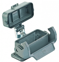 Han 10A bulkhead mounted housing with thermo-plastic cover, low construction