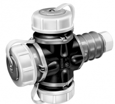 Compressed waterproof rubber 3-way coupler IP 68, German System