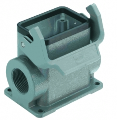 Han 10B surface mounted housing, side entry, 2xM25, single locking lever, high construction