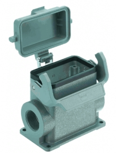 Han 10B surface mounted housing, with thermo-plastic cover, side entry, 2 x M25, single locking lever high construction