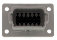 DEUTSCH Receptacle Housing 12-pole DT-Series A-Coding with Flange