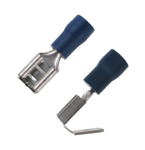 100 Flachsteckhülse mit Abzweig blau 6,3x0,8mm Kabelschuhe für 1,5-2,5mm² Buchse