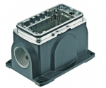 Han-Yellock 30 surface mounted housing, incl. bulkhead mounted housing, screw locking, side entry, 2xM25