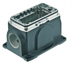 Han-Yellock 30 surface mounted housing, incl. bulkhead mounted housing, screw locking, side entry, 2xM20