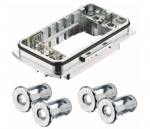 Han-Yellock 60 bulkhead mounted housing, incl 4 panel fastener
