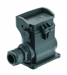 Han-Eco B 10B surface mounted housing, thermo-plastic cover, integr. cable gland, side entry, 1xM25, single locking lever