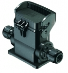 Han-Eco B 10B surface mounted housing, thermo-plastic cover, integr. cable gland, side entry, 2xM32, single locking lever