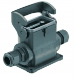 Han-Eco B 10B surface mounted housing, outdoor, integr. cable gland, side entry, 2xM25, single locking lever