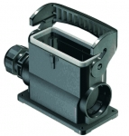 Han-Eco B 16B surface mounted housing, outdoor, integr. cable gland, side entry, single locking lever, 1xM32