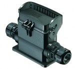 Han-Eco B 16B surface mounted housing, outdoor, with thermo-plastic cover, side entry, single locking lever, 1xM32