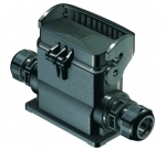 Han-Eco B 16B surface mounted housing, outdoor, with thermo-plastic cover, side entry, single locking lever, 2xM25