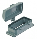 Han 16B bulkhead mounted housing, with metal cover, double locking lever (on the hood)