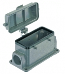 Han 16B surface mounted housing, with thermo-plastic cover, side entry, 2xM25, double locking lever (on the hood)