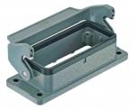 Han 16B bulkhead mounted housing, single locking lever, Han-Easy lock, IP65, IP67