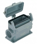 Han 16B surface mounted housing, with metal cover, side entry, 2xM32, single locking lever, high construction