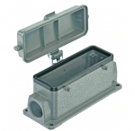 Han 24B surface mounted housing, with thermo-plastic cover, side entry, 1xM25, double locking lever (on the hood)