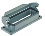 Han 24B bulkhead mounted housing, single locking lever, IP65, IP67