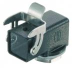 Han M 3A screw mounted hood, angled, 1xM20, single locking lever