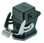 Han M 3A bulkhead mounted housing, straight, with metal cover, with seal, single locking lever