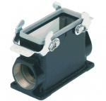 Han M 16B surface mounted housing, side entry, 2xM32, double locking lever, high construction