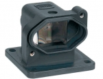 Han 3 HPR bulkhead mounted housing, angled, open bottom, feed through hole for fixing screw