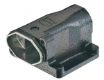 Han 3 HPR surface mounted housing, angled, bottom closed, tapped blind hole for fixing screws, top entry, 1xM25, long version