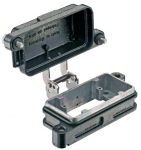 Han 10B HPR bulkhead mounted housing, with metal cover, screw locking