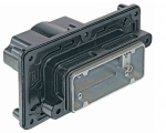 Han 10B HPR panel feed through housing, for mounting from inside, top entry, 1xM40, screw locking