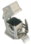 Han 3A INOX bulkhead mounted housing, straight, with metal cover, with seal, single locking lever