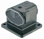 Han 3 HPR surface mounted housing, angled, bottom closed, feed through hole for fixing screws, top entry, 1xM20