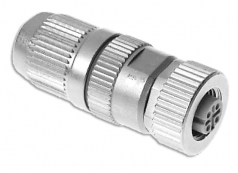 HARAX M12-L female connector shielded 4 poles d-coded