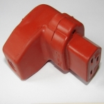 Vollgummi-Winkel-Gerätesteckdose nach VDE 0625 / IEC 60320 / C21