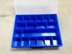 Assortment Plastic Case, 18 trays, blue, empty