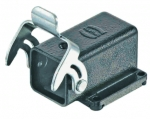 Han M 3A bulkhead mounted housing, angled, square mounting flange, 4 screws, single locking lever