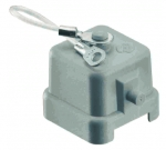 Han 3A thermoplastic protection cover for bulkhead & surface mounted housings, with seal & fixing cord