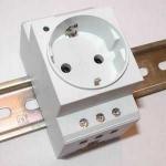 Cabinet socket outlet, German System, grey